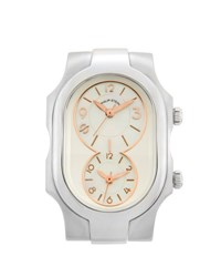 Philip Stein Teslar Small Signature Dual Time Zone Watch Head Silver
