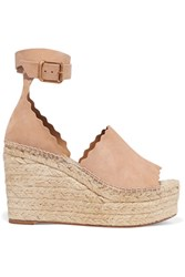 Chloe Scalloped Suede Espadrille Wedge Sandals Beige