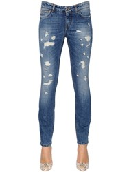 Dolce And Gabbana Skinny Destroyed Cotton Denim Jeans