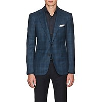 Cifonelli Montecarlo Checked Wool Two Button Sportcoat Teal