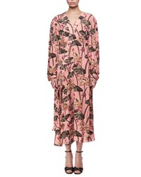Loewe Printed Long Sleeve Midi Dress Pink Black Pink Black