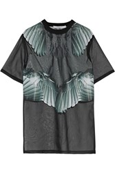Givenchy Printed T Shirt In Black Silk Organza