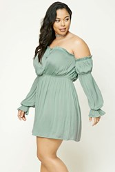 Forever 21 Plus Size Satin Ruffle Dress Mint