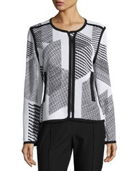 Misook Geometric Print Textured Zip Jacket White Black