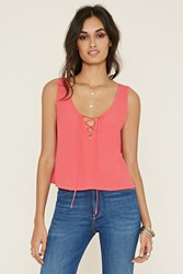Forever 21 Lace Up Crepe Tank