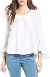 Soprano Women's Bell Sleeve Top White