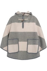 Mih Jeans Honor Hooded Striped Wool Blend Twill Cape Neutral
