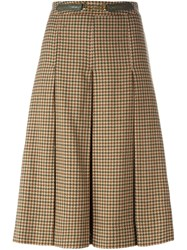 Celine Vintage Houndstooth Check Skirt Brown