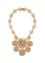 Miriam Haskell Crystal Baroque Pearl Floral Statement Necklace Metallic