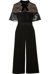 Self Portrait Paisley Velvet Trimmed Embroidered Tulle And Crepe Jumpsuit Black