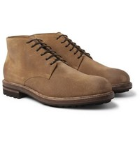 Brunello Cucinelli Shearling Lined Suede Boots Light Brown