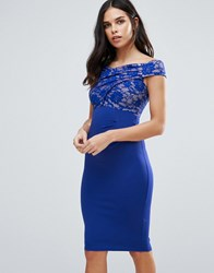 Jessica Wright Bardot Midi Dress With Lace Detail Blue