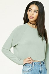 Forever 21 Boxy Raw Cut Top Sage