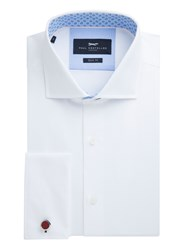 Paul Costelloe Men's Taynton Diamond Textured Cotton Shirt White