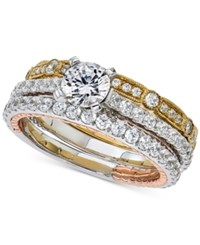 Macy's Diamond Tri Tone 3 Pc. Bridal Set 2 Ct. T.W. In 14K White Rose And Yellow Gold Tri Tone