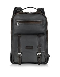 Chiarugi Black And Brown Leather Backpack