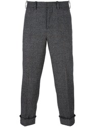 Neil Barrett Cuffed Check Trousers Black