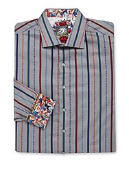 Robert Graham Big And Tall Sherlock Long Sleeve Striped Shirt Grey