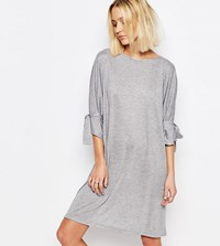 House Of Sunny Shift Dress With Tie Sleeve Gray