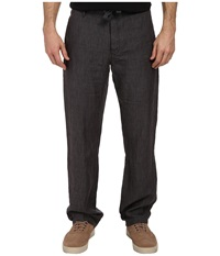 Perry Ellis Drawstring Linen Pant Slate Men's Casual Pants Metallic