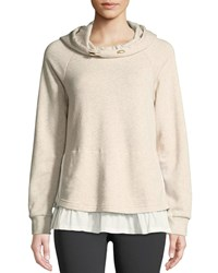 Kate Spade Ruffle Pullover Layered Hoodie Neutral Pattern