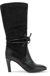 Chloe Suede And Leather Boots Charcoal