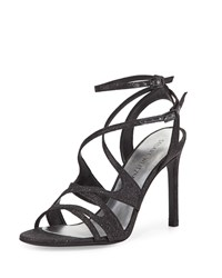 Stuart Weitzman Sunsetstrip Glittered Evening Sandal Black