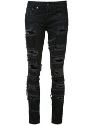 R 13 R13 Alison Patch Skinny Jeans Black