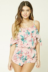 Forever 21 Floral Print Cover Up Romper Blush Multi