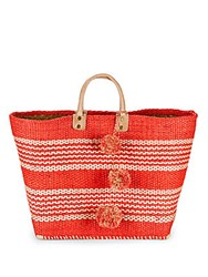 Mar Y Sol Caracas Pom Pom Open Top Tote Red