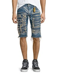 Robin's Jean Distressed Slim Fit Shorts Light Blue Men's