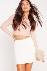Missguided Bandage Cross Waist Mini Skirt White White