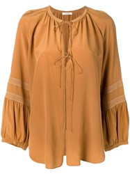 Dorothee Schumacher Long Sleeve Flared Blouse Brown