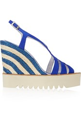 Paloma Barcelo Striped Raffia And Suede Wedge Sandals Blue