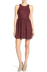 Junior Women's Frenchi Shimmer Jacquard Skater Dress Burgundy Stem