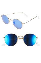 Women's Ray Ban 50Mm Folding Sunglasses Gold Green Mirror Blue