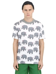 Au Jour Le Jour Rino Printed Cotton T Shirt White Grey