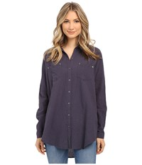 Free People Lover Her Madly Button Down Shirt Night Sky Women's Long Sleeve Button Up Blue