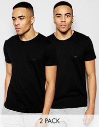 Emporio Armani Cotton Crew Neck T Shirts 2 Pack In Muscle Fit Black