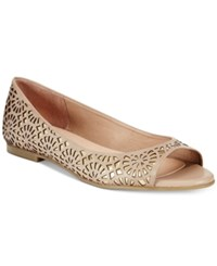 French Sole Fs Ny Reform Peep Toe Flats Women's Shoes Beige
