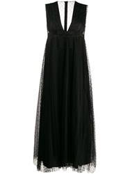 Red Valentino Tulle Flared Mid Length Dress Black