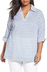 Foxcroft Plus Size Women's Nora Non Iron Diamond Print Tunic Dusk Blue