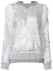 Sacai Sequin Embroidered Sweatshirt Polyester Sequin Grey