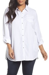 Sejour Plus Size Women's Chambray Tunic Shirt White