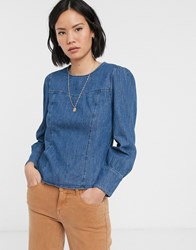 Only Denim Blouse With Puff Shoulder In Blue