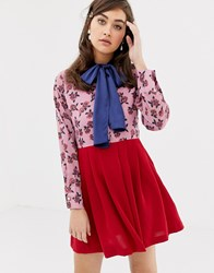 Sister Jane Smock Dress With Pussybow In Colourblock Floral Pink And Red Multi