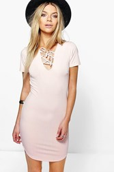 Boohoo Lace Up Ribbed Curved Hem Bodycon Dress Nude