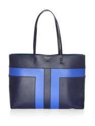 Tory Burch Block T Pieced Leather Tote Royal Navy