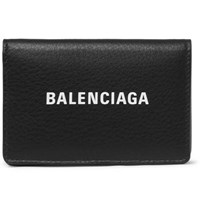Balenciaga Logo Print Textured Leather Bifold Cardholder Black