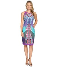 Hale Bob Pop Goes The Plumage Dress Teal Women's Dress Blue